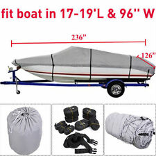 17-19 Ft Waterproof Heavy Duty Fabric Trailerable 210D V-Hull Gray Boat Cover BH