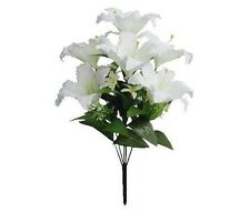 "7 Soft Cream Poly Silk Rubrum Lily 22"" Bouquet Wedding Bridal Home Decor Flower"