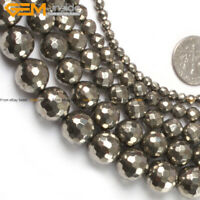 """2-12mm Natural Stone Round Faceted Pyrite Gemstone Beads Jewelry Making 15"""""""