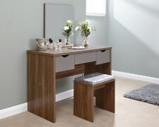 Contemporary Dressing Table Set Walnut 3 Drawer Storage - Table, Mirror, Stool