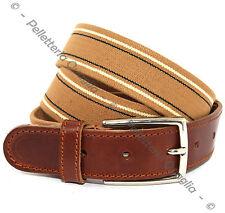 Cintura Elastica Pelle Cuoio Uomo Donna Artigianale Marrone Beige Made In Italy