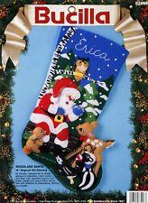 "Bucilla Woodland Santa ~ 18"" Felt Christmas Stocking Kit #83006 Deer Bunny Skunk"