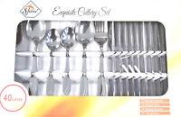 40 Piece Modern Kitchen Stainless Steel Cutlery Set Tableware Dining Utensils