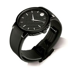 Movado Gravity Black Carbon Fiber Rubber Strap Watch 0606849 Mens Gift