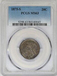 1875-S PCGS 20C Seated Liberty Twenty Cent Piece Mint State MS63