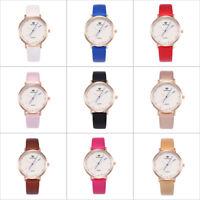 Women's  Fashion Watch Leather Strap Analog Quartz Round Glass Mirror Watches
