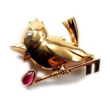 Gold Brosche Vogel mit Rubin & Diamant 750 Rotgold Handarbeit 3,5 cm Bird Brooch