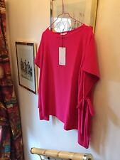New Zara Woman Bright Pink Top With Open & Tie Sleeves, Shirt Blouse,Med