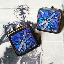 Unique! STAINED GLASS DRAGONFLY CUFFLINKS nature BLUE damsel fly WEDDING groom