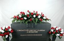Double Memorial Cemetery Silk Flower Headstone Saddle + Matching Vase Bushes