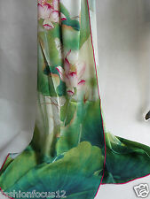 Elegant Woman's 100% Mulberry Silk digital print-out lotus long Scarf green