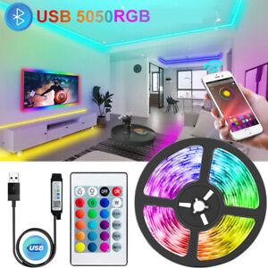 50ft USB LED Strip Lights TV Room Fairy 5050 RGB Color Changing 24Key Remote 5m