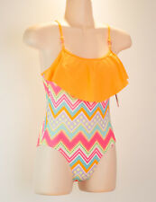 Jantzen Girls one Piece Swimsuit Size 10 Orange Geometric Fiesta in Cabo NWT $50