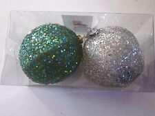 2 Silver Blue Glitter 4.5 Inch Shatter Resistant Christmas Ornament Decoration