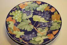 Set of 2 La Primula Grapes Green Orange Yellow Leaves Blue Dinner Plates