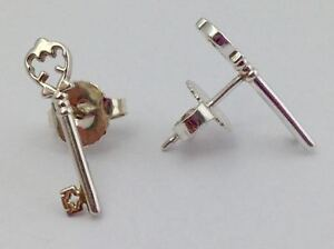 Alex and Ani Skeleton Key Stud Sterling Silver Earrings, New