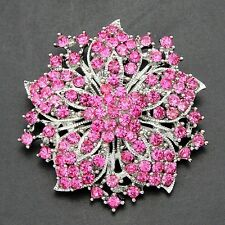 "2"" Vintage Look Star Flower Pink Diamante Crystal Wedding /Party Brooch"