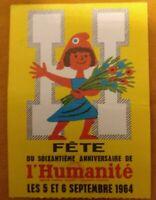 Ticket Fête De L'humanité de Septembre 1964 soixantième anniversaire No 690944
