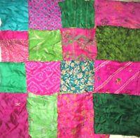 LOT PURE SILK Antique Vintage Sari Fabrics REMNANT 20 pcs 5 inch SQUARES #ABDBV