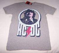 ACDC Angus Rock Band Mens Grey Printed Short Sleeve T Shirt Size M New