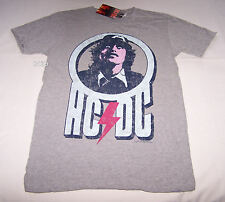 ACDC Angus Rock Band Mens Grey Printed Short Sleeve T Shirt Size S New