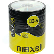 Maxell CD-R 100 Shrink Pack 52x 700MB Blank CDs Media Disks
