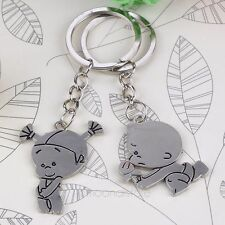 Cute New Couple Key Chain Keychain Lovers Keyring Keyfob Valentine Gift Silver