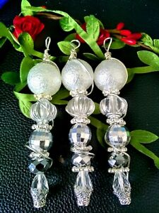 Handmade Christmas Tree Decorations. Set of 3. Recycled Jewellery. Sparkle Gift