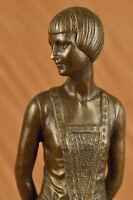 Vintage Original  Sculpture BRONZE Art Nouveau LADY Old VICTORIAN Style STATUE