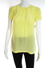 Pippa Yellow Silk Sheer Short Cap Sleeve Loose Fit Oversized Blouse Size 2 New