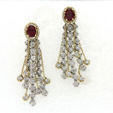 2.50 Ct Natural Diamond & Oval Red Ruby Drop Dangle Earrings 14k Yellow Gold
