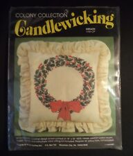 Vintage Candlewicking Kit Wreathe Pillow Holiday Christmas Colony Collection NOS