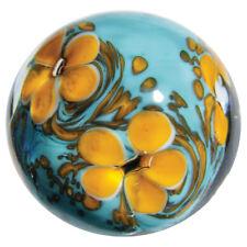 22mm COSMOS Orange/Turquoise Blue flower Handmade art glass Marble 7/8