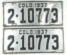Colorado 1937 License Plate Pair Old Classic Car Set for Cruise Nights Man Cave