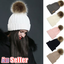 Winter Warm Faux Fur Bobble solid color Women Knitted Beanie Ski Hat POM Cap