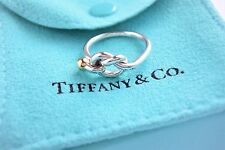 Tiffany & Co Sterling Silver 18K Yellow Gold Twist LOVE KNOT RING BAND SIZE 4.5