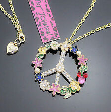 Betsey Johnson Colored Flowers Peace Sign Pendant Golden Long Necklace