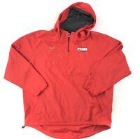 Nike 1/4 Zip Hooded Windbreaker Jacket Mens XL Red Embroidered Swoosh