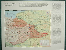 WW2 WWII MAP ~ THE LIBERATION OF PARIS 14-25 AUG 1944 FRONT LINES FRANCE