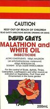 Malathion & White Oil 200mL David Grays Aphid Scale Moth Fruit Fly Pest Control