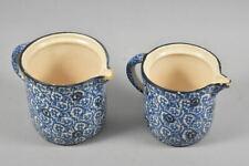 k49i19- 2x Bunzlau Keramik Milchkrug mit Blaudekor, 1x gemarkt