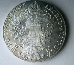 1780 AUSTRIA THALER - Theresa - LARGE SILVER CROWN COIN - Lot #a7