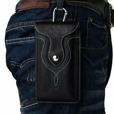 Universal Leather Belt Hook Pouch Case Cover Holster Fasten for Mobile Phones
