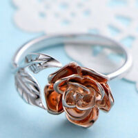 Red Rose Open Ring Gold Tone Flower Engagement Wedding Band Ring for Women