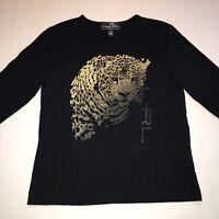 LRL Lauren Active Top Size Petite M Black Gold Cheetah 100% Cotton