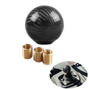 Car Accessories Gear Shift Knob Round Ball Shape Black Carbon Fiber Adapters Kit