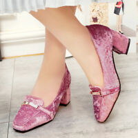 2019 Womens Mid Block Heel Square Toe Metal Mary Jane Shoes Velvet Fashion Size