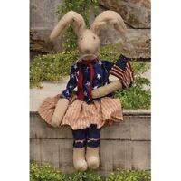 Betsy Bunny Americana Patriotic Primitive Folk Art Natural Ivory Rabbit Doll