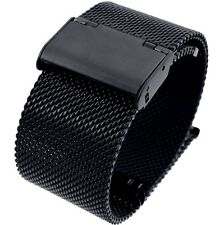 24mm Stainless Steel  Mesh Milanese Watch Band Bracelet Color Black  IPG