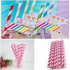 25Pcs Drinking Paper Straws Colorful Striped Birthday Wedding Xmas Party Retro